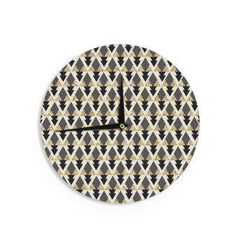 "Nika Martinez ""Glitter Triangles in Gold & Black"" Geometric Wall Clock"