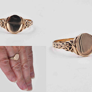 Antique Art Nouveau 9CT Yellow Gold Signet Ring, Ornate, Tulips, Scroll, Blank, Oval,  Size 7 1/4, Engrave, Personalize, Nice! #b969