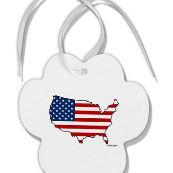 United States Cutout - American Flag Design Paw Print Shaped Ornament by TooLoud