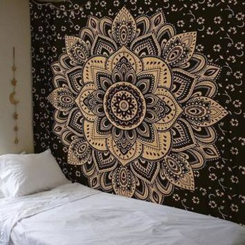 Black and Metallic Gold Bohemian Fabric Tapestry