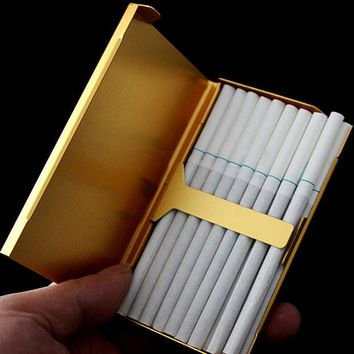 VONC1Y 20 Sticks Thin Fashion Pipe Creative Personality Cigaret Case Slim Lady Metal Cigarette Case Cigarette Box XN253