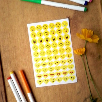 Emotional heart and circle printed stickers emoji smile face life planner stickers kawaii happy planner sticker paper print Icon daily plan