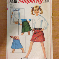 Vintage 1960s Girls' Skirt Sewing Pattern by MarysVintageClothes