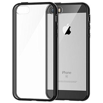 iPhone 5s Case, JETech Apple iPhone SE 5S 5 Case Bumper Shock-Absorption Bumper and Anti-Scratch Clear Back (Black) - 0420