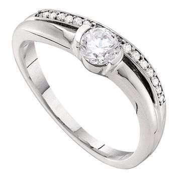 14kt White Gold Women's Round Diamond Solitaire Bridal Wedding Engagement Ring 3/8 Cttw - FREE Shipping (USA/CAN)
