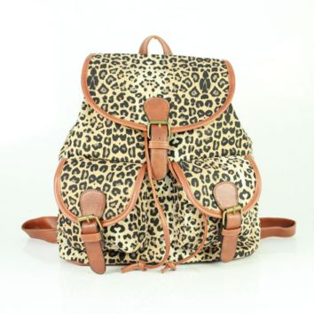 Leopard School Bag Canvas Casual Backpack Daypack