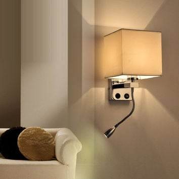 Modern Bed Wall Lights Led Reading Lamp Wall Lamp Hostel Bed Night Lamp Tubing Rocker Light Fabric Sconce Bathroom Fixtures