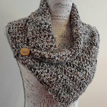 Crochet soft gray and hints of brown Scarf. Infinity Scarf. Chunky. Katniss inspired cowl. Wood button cowl. Button scarf.
