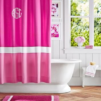 Color Block Shower Curtain, Pink Magenta/ Bright Pink