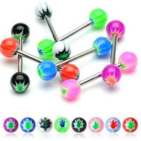 "(Pack of 16) Body Jewelry 14g 5/8"" Nipple Bar Ring or Tongue Straight Basic Barbell Pot Leaf Design"