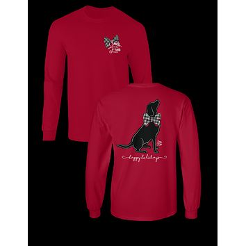 Sassy Frass Happy Holidays Black Lab Dog Bow Christmas Long Sleeve Bright Girlie T Shirt