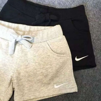 NIKE Women Casual Drawstring Solid Sport Running Shorts
