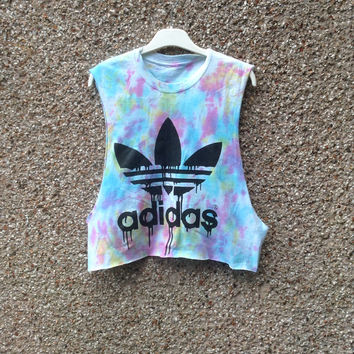Unique Dripping adidas tie dye crop top swag hipster grunge festival