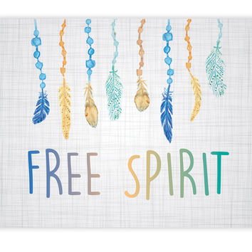 Print or Canvas, Free Spirit Beads + Feathers, One 11x14