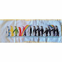 Rainbow Penguin Counted Cross Stitch Pride 21x4.5in Completed Handworked c1416
