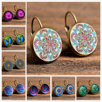 18  Styles Vintage Retro Earrings For Women Party Jewlery Fashion Patten Flower Stud Earrings Gold Color Brincos Christmas Gift
