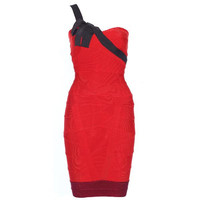 Aliexpress.com : Buy Free Shipping 2013 New Fashion On Women Trending Red and Black Rosette One Shoulder Bandage Dress H171F from Reliable Bandage Dress suppliers on Online Store 419525
