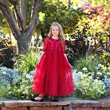 Wine Gwendolyn Gown Dress - Toddler, Girls & Juniors