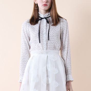 Polka Dots Tie-bow Crepe Top in White
