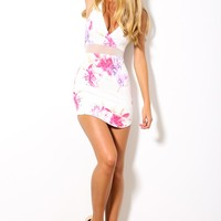 HelloMolly | Race Season Dress - Sleeveless white dress with Red/pink floral print