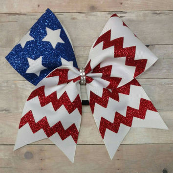 Flag cheer bow, american flag cheer bow, big softball bow, big cheer bow, glitter cheer bow, custom cheer bow, flag hairbow