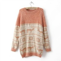 snow flake xmas pinkish sweater-free shipping by ClothLess