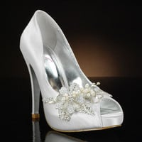 MY GLASS SLIPPER HIGH-SOCIETY Wedding Shoes and HIGH-SOCIETY Dyeable Bridal Shoes WHITE, IVORY