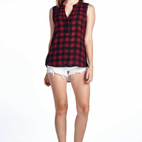Sleeveless Plaid Button Up V-Neck