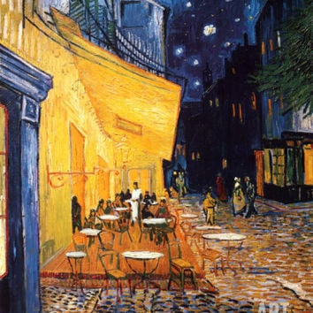 The Café Terrace on the Place du Forum, Arles, at Night, c.1888 Art Print by Vincent van Gogh at Art.com