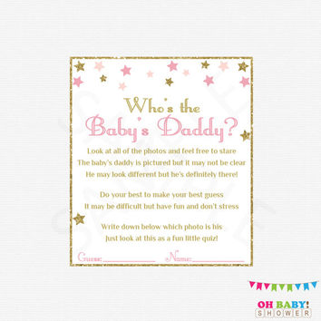 Twinkle Twinkle Little Star Baby Shower Games Who's the Baby's Daddy Guessing Game Pink and Gold Printable Instant Download Girl Baby STPG