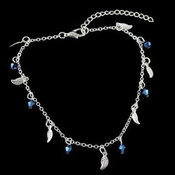 Leaf Geometric Beads Charm Anklet - Silver