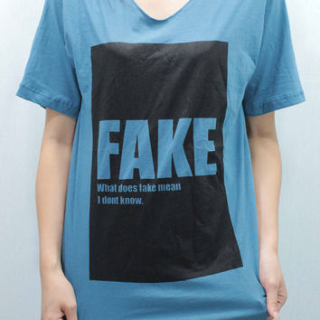 FAKE T Shirts Tee shirt Women/Unisex handmade silk screen printing  size S