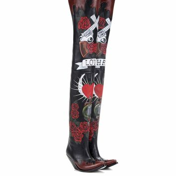 Painted leather over-the-knee boots