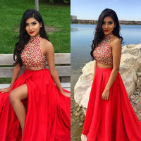High Neck Beaded A-Line Prom Dresses,Prom Dress