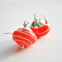 Red Striped Glass Earrings