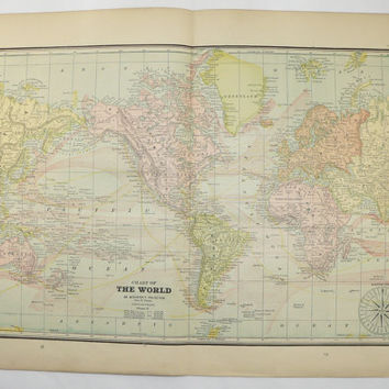 Vintage Map of the World 1891 World Map, Antique Map Mercators Projection, Ocean Currents, Man Cave Decor Gift for Guy,  Office Wall Art