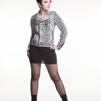 Black and White Leopard Moto Jacket from Tripp NYC