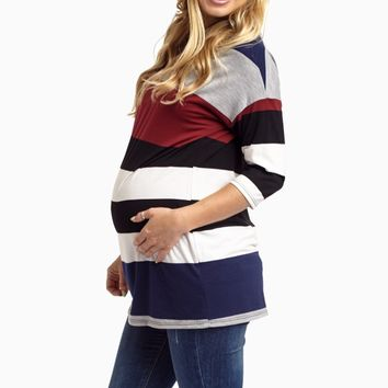 Burgundy-Colorblock-Fitted-Maternity-Top