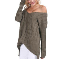 Oversized Knit Off Shoulder Sweater-Green