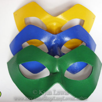 Super Hero Mask, Leather Domino, Single Mask, Choose a Color, Hand Painted, Leather Masquerade, Cosplay Mask