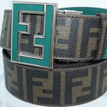 New Fendi Women's Unisex Logo Blet Brown Adjustable Reversible Green Leather