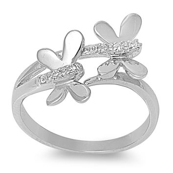 925 Sterling Silver CZ Dragonfly Ring 15MM