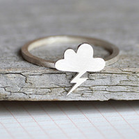 lightning cloud ring in sterling silver, handmade in England