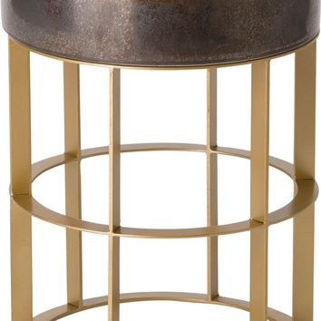 Milo Metal Stool/Table Powdercoated Gold With A Gunmetal Ceramic Top