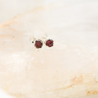 Garnet Small Stud Earrings - Sterling Silver Burgundy Gemstone Faceted Rounds -  Joy, Love, Passion, January Birthstone, Valentine