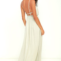 Feel the Rush Light Gold Maxi Dress