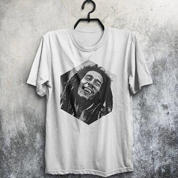 Bob Marley T Shirt Men T-Shirt Reggae Shirt Man Tee Music Jamaica Tshirt Birthday Gift For Him Men Clothing Rasta T Shirt White T Shirt Gray