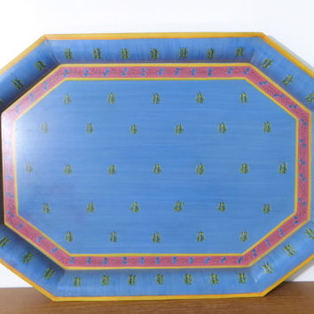 French country toleware tray, hand painted in blue, rose pink and yellow