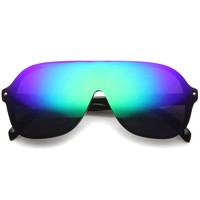 Retro Disco Mono Lens Color Mirror Lens Aviator Sunglasses A060