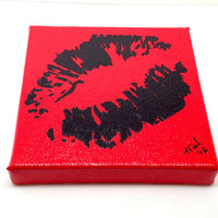 Valentine Pop Art Graffiti Kiss Lips Black on by GirlBurkeStudios